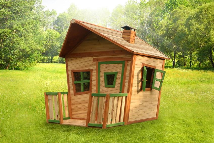 Kinder-Spielhaus Holz Comic Kinderspielhaus mit Terrasse