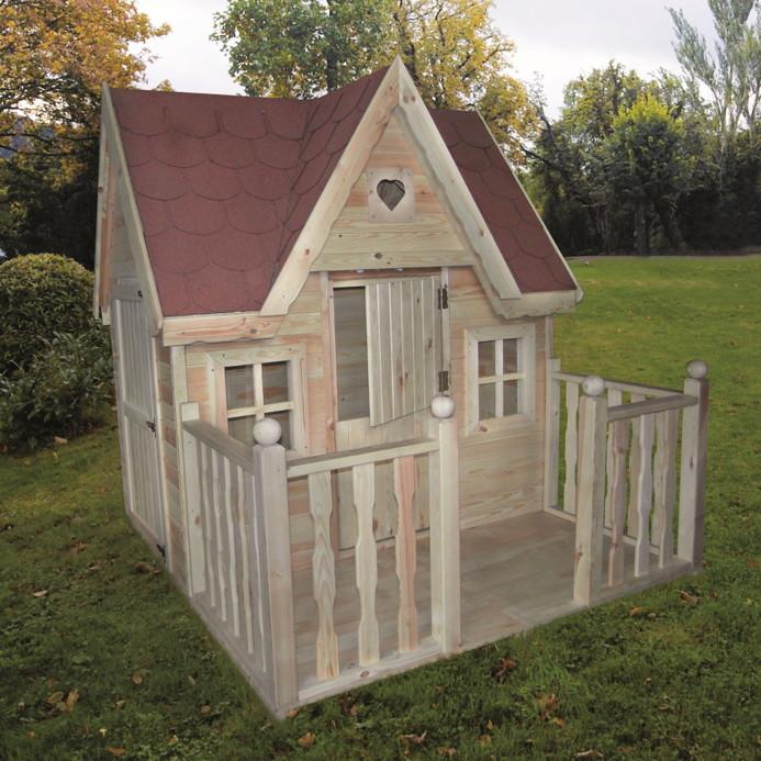 Kinderspielhaus Holz Natur Mit Sandkasten Und Pergola ~ Kinder Spielhaus PROMADINO «Schwalbennest» Holzhaus