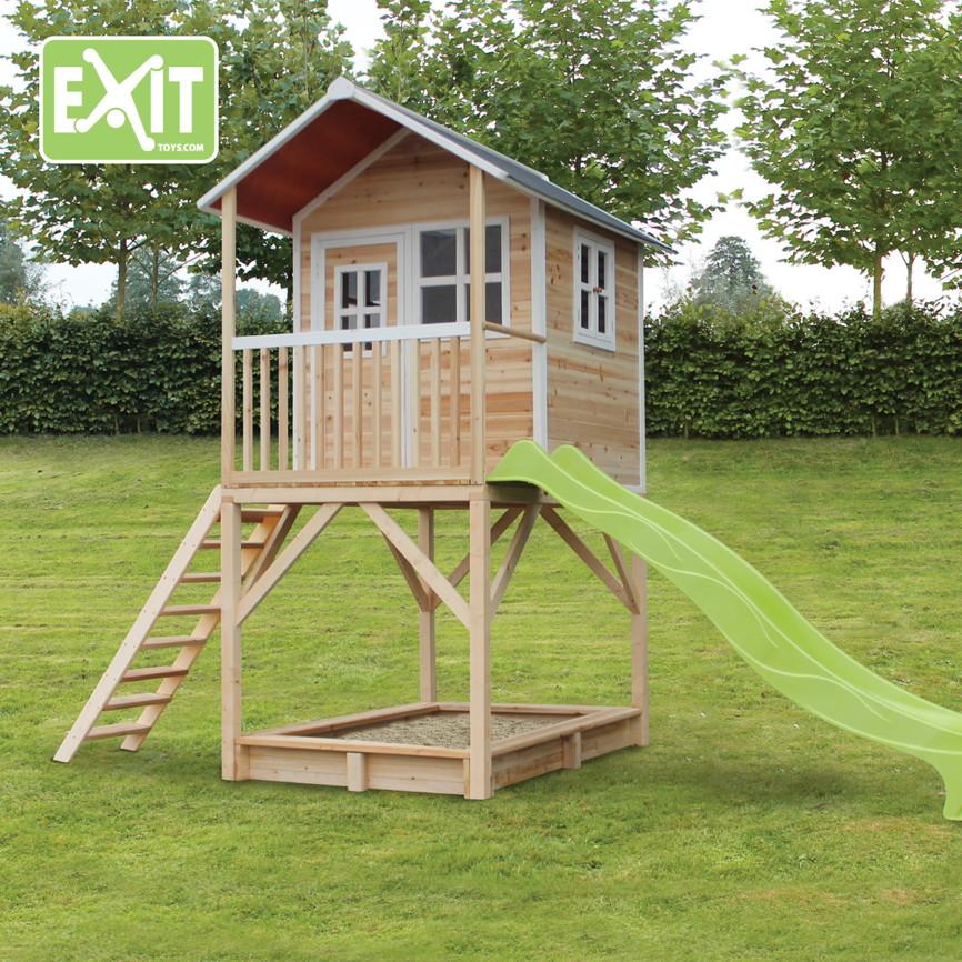 holz kinder spielhaus hohes stelzen kinderspielhaus stelzenhaus natur rutsche vom spielger te. Black Bedroom Furniture Sets. Home Design Ideas
