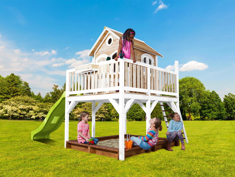 Stelzen-Holz-Spielhaus großes hohes Podest Terrasse Rutsche Sandkasten weiß