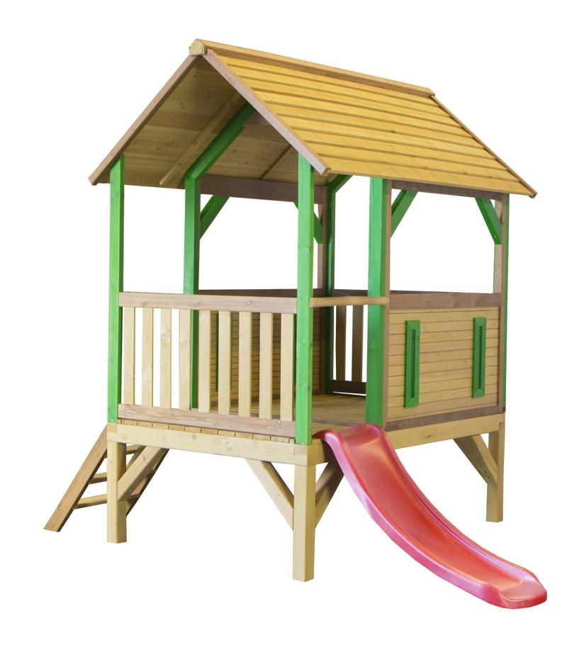 kinder spielturm holz flaches offenes stelzen spielhaus rutsche vorgestrichen vom. Black Bedroom Furniture Sets. Home Design Ideas