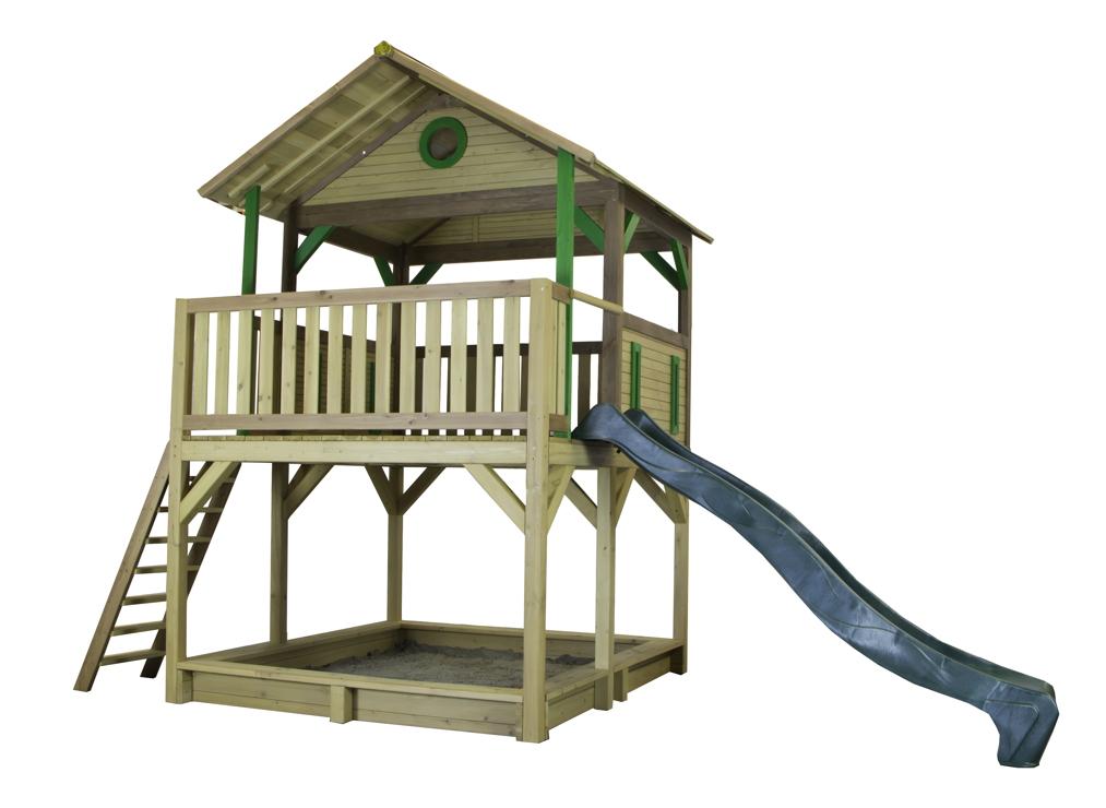 holz kinder spielturm hohes offen stelzen spielhaus rutsche sandkiste farbig vom garten. Black Bedroom Furniture Sets. Home Design Ideas
