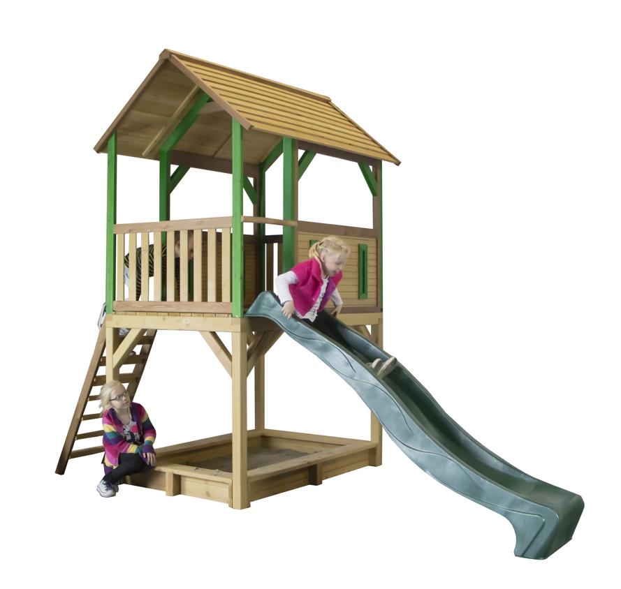 kinder spielturm holz hohes offenes stelzen spielhaus rutsche sandkiste farbig vom. Black Bedroom Furniture Sets. Home Design Ideas