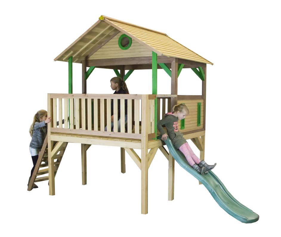 Bevorzugt Holz-Kinder-Spielturm hohes & offen Stelzen-Spielhaus Rutsche FB11