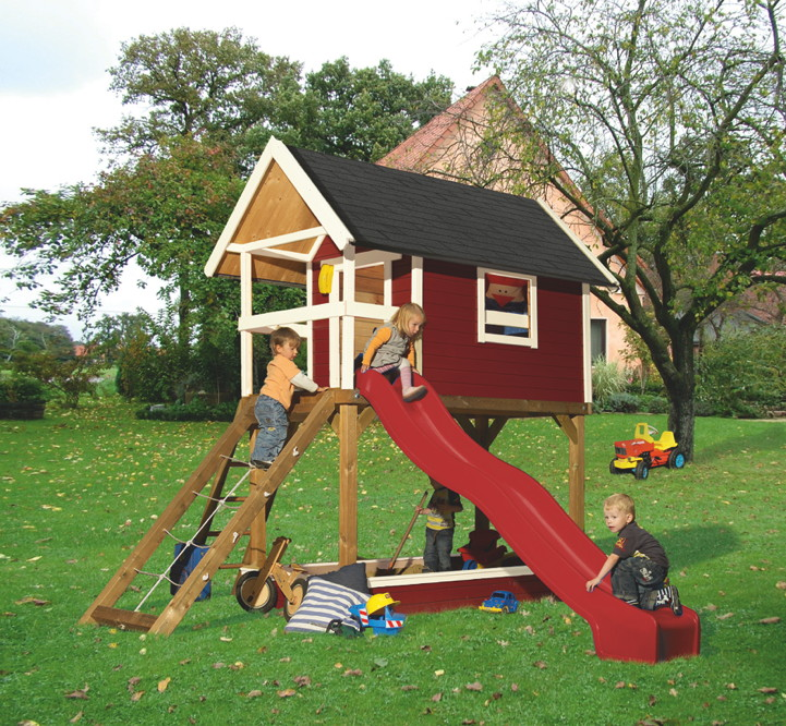 Kinderspielhaus Stelzenhaus Aus Holz Mit Rutsche ~   , Kinderhaus, Stelzenhaus  teilw mit Rutsche, Sandkasten uvm
