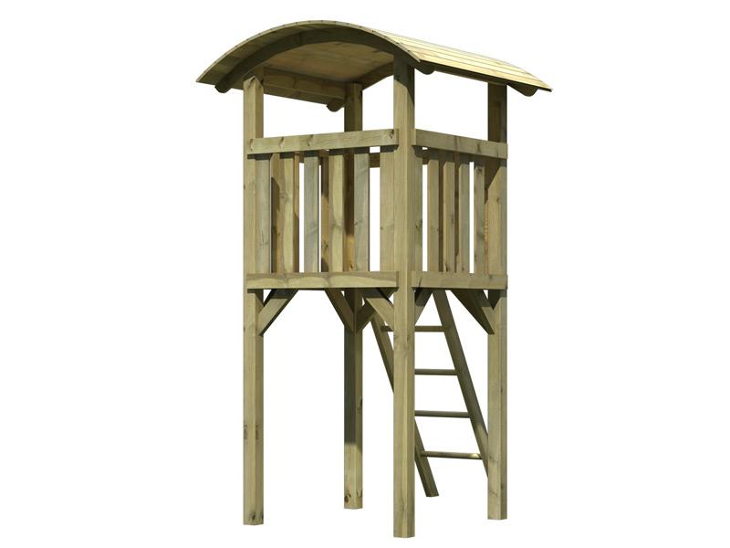 spielturm karibu pfiffikus mit tonnendach kinder spielhaus aus holz. Black Bedroom Furniture Sets. Home Design Ideas