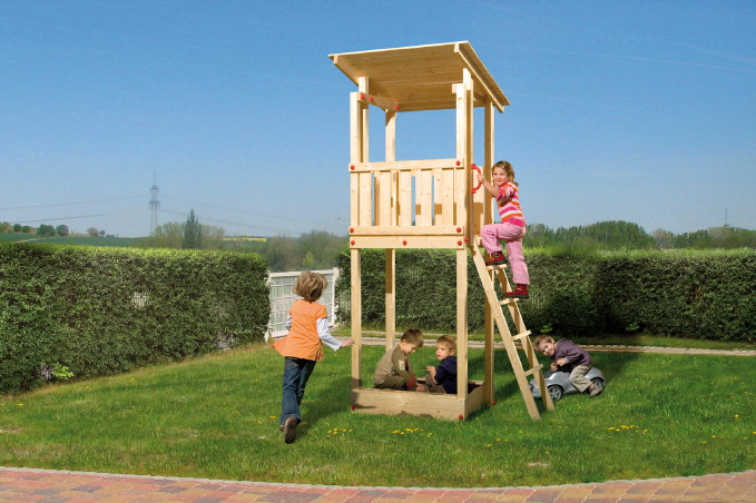 spielturm weka red point micky hunter tarpan 1 holzhaus mit sandkasten ebay. Black Bedroom Furniture Sets. Home Design Ideas