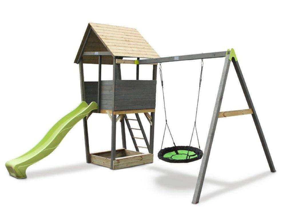 Favorit Kinder-Spielturm EXIT «Aksent» Spielturm, Nestschaukel mit Rutsche AP49