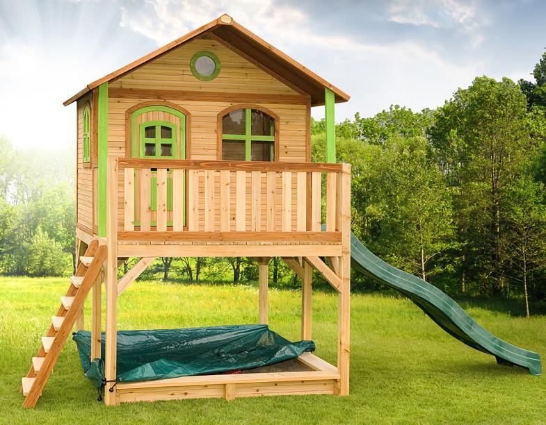 Holz-Kinderspielhaus auf Stelzen Sandkasten Garten 173x113cm Haus-Innenmaß