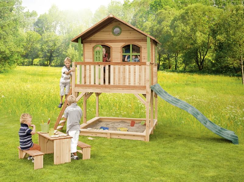 holz kinderspielhaus auf stelzen sandkasten garten 173x113cm haus innenma spielhaus. Black Bedroom Furniture Sets. Home Design Ideas