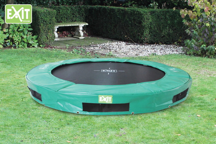 kinder trampolin exit interra trampolin gr n bodentrampolin trampolin gartentrampolin. Black Bedroom Furniture Sets. Home Design Ideas