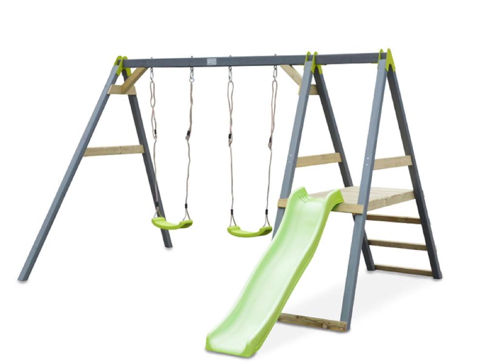 Kinder-Schaukel EXIT Aksent Schaukel mit Podestanbau und Rutsche inkl. Sitz