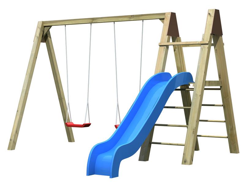 Kinder-Schaukel-SET KARIBU Luftikus Doppelschaukel Holzschaukel mit Rutsche