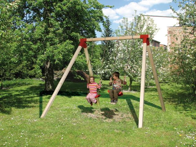 Kinder-Schaukel WEKA RED POINT Funny Doppelschaukel Holzschaukel mit 2 Sitzen