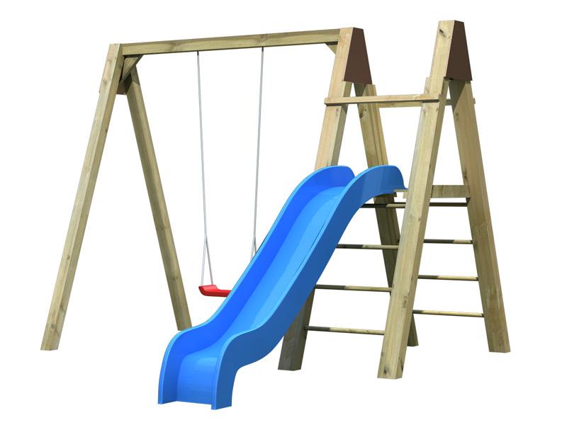 Kinder-Schaukel-SET KARIBU Luftikus Einzelschaukel Holzschaukel mit Rutsche