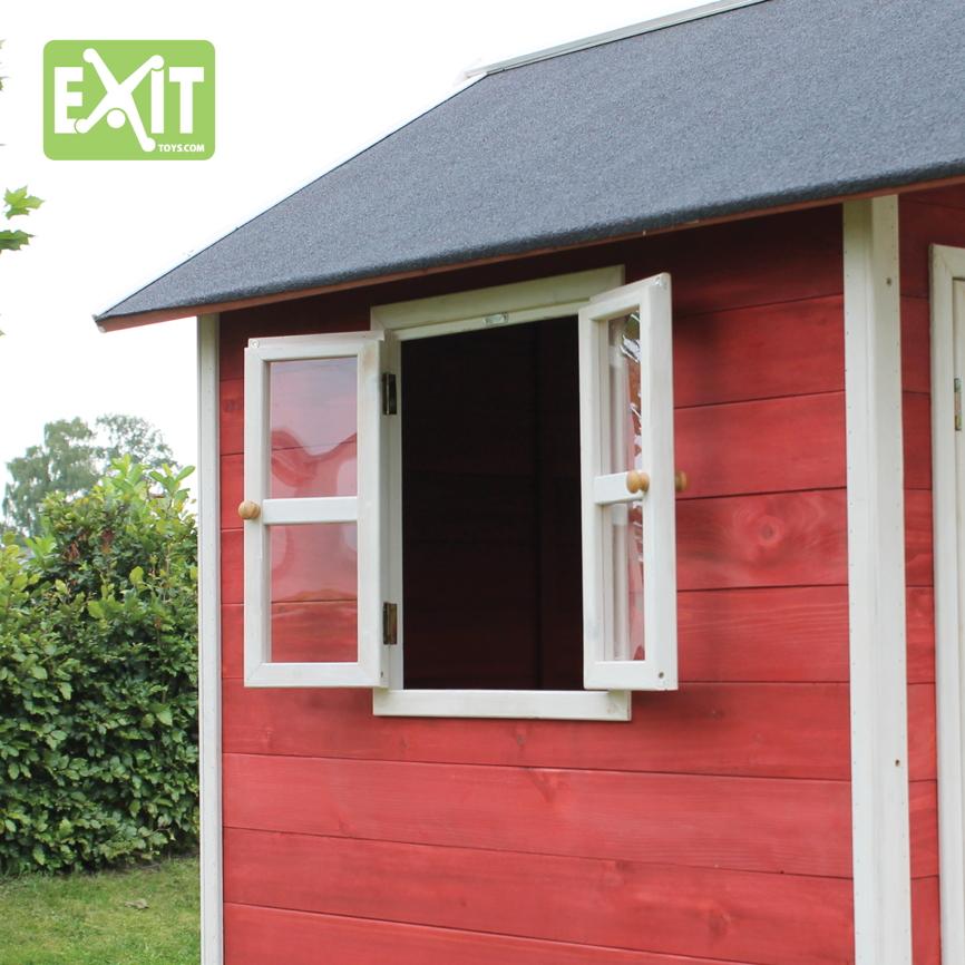 holz kinder spielhaus klein kinderspielhaus holzhaus rot gebeizt t r fenster vom garten. Black Bedroom Furniture Sets. Home Design Ideas
