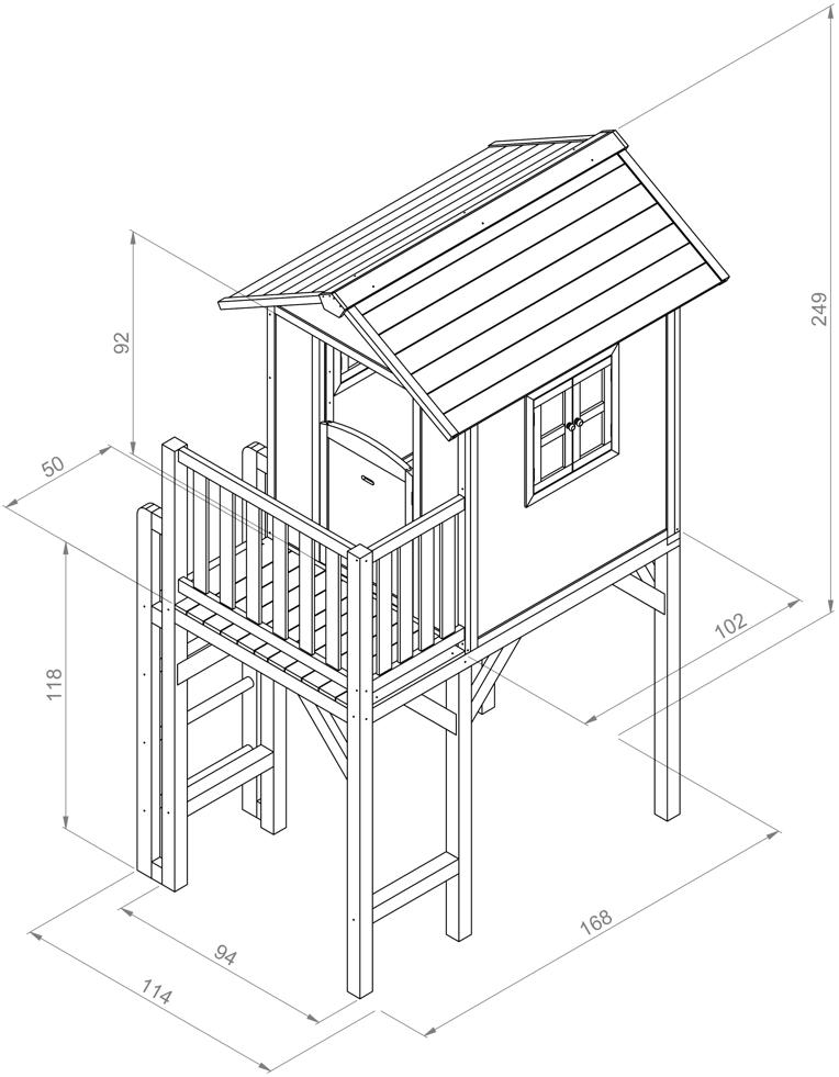 kinder spielhaus sunny lodge xxl wei grau stelzenhaus. Black Bedroom Furniture Sets. Home Design Ideas