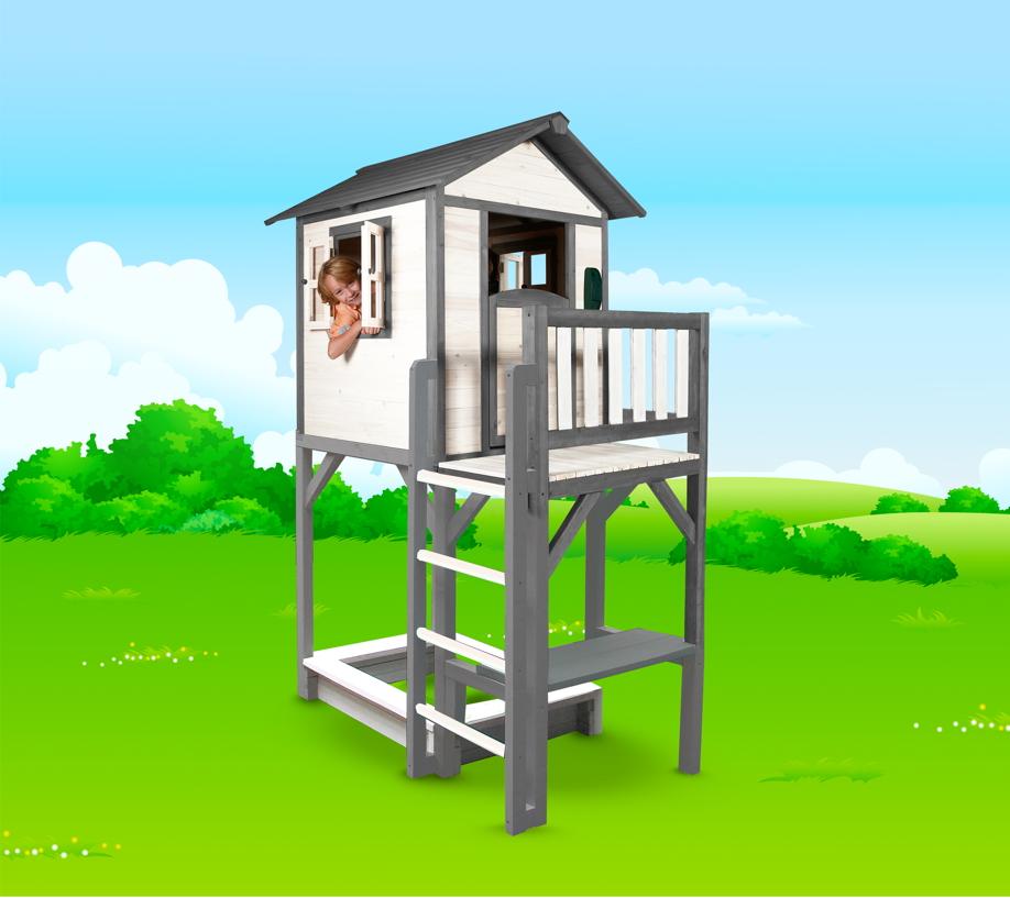 kinder spielhaus beachstyle lodge xxl plus wei grau stelzenhaus sandkasten vom spielger te. Black Bedroom Furniture Sets. Home Design Ideas