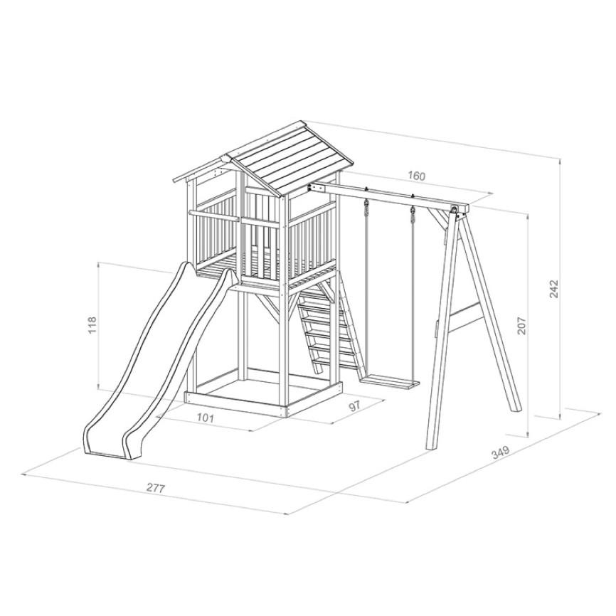 kinder spielturm beachstyle beach tower swing stelzenhaus einzelschaukel rutsche kamin fen. Black Bedroom Furniture Sets. Home Design Ideas