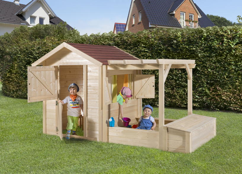 neues kinderspielhaus philipp mit integriertem sandkasten von weka holz. Black Bedroom Furniture Sets. Home Design Ideas