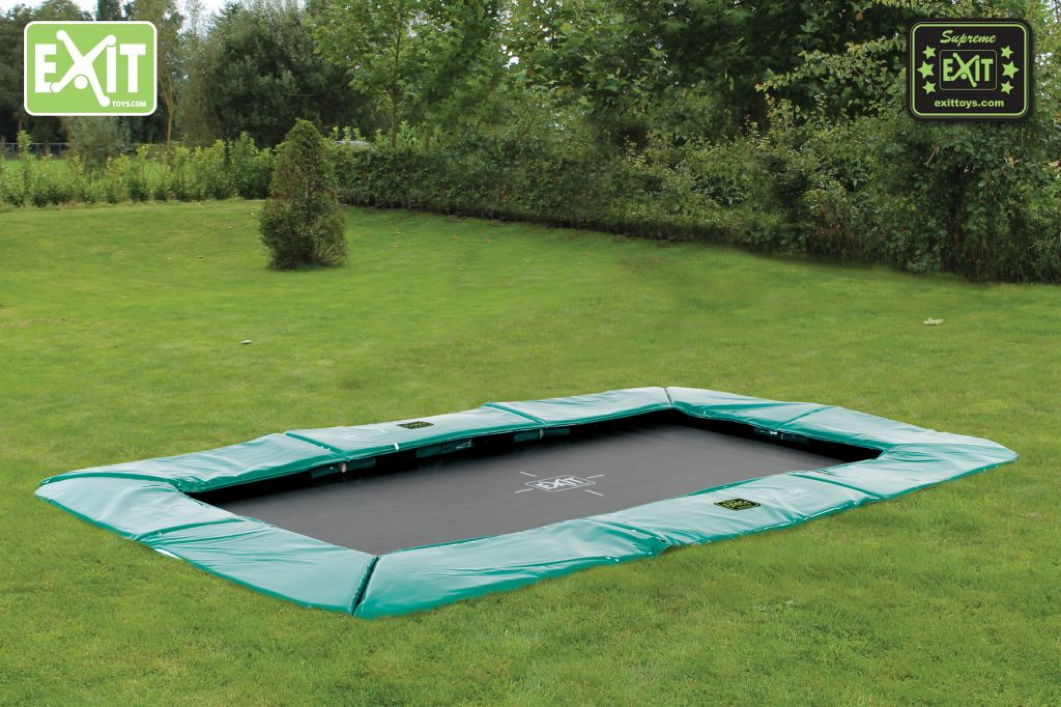 kinder trampolin exit bodentrampolin supreme 244x427 gr n. Black Bedroom Furniture Sets. Home Design Ideas