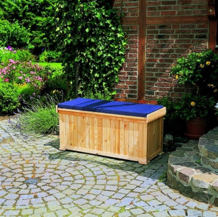 gartenbank mit integrierter kissentruhe auflagenbox holzbank inkl sitzkissen vom garten. Black Bedroom Furniture Sets. Home Design Ideas