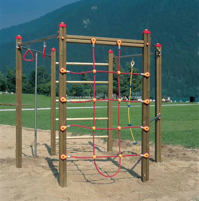 Klettergerüst DIN EN 1176 «Hexagonal Kletterwand» Netz Reckstange ...
