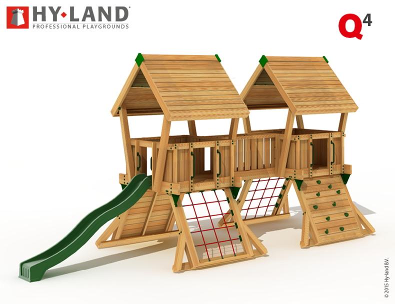 Top Spielturm HY LAND «Q-Serie Projekt 4» Kletterturm mit Rutsche DIN ZM54