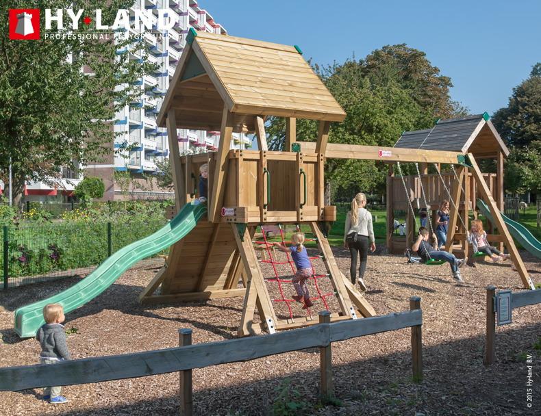 Spielturm HY LAND «Q-Serie Projekt 2 Schaukel» Kletterturm Rutsche ...