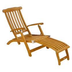 Liegestuhl Holz Mit Fußteil.Liegestuhl Fischer Flores Deckchair Aus Teakholz Fußteil Abnehmbar Gartenmöbel Fachhandel