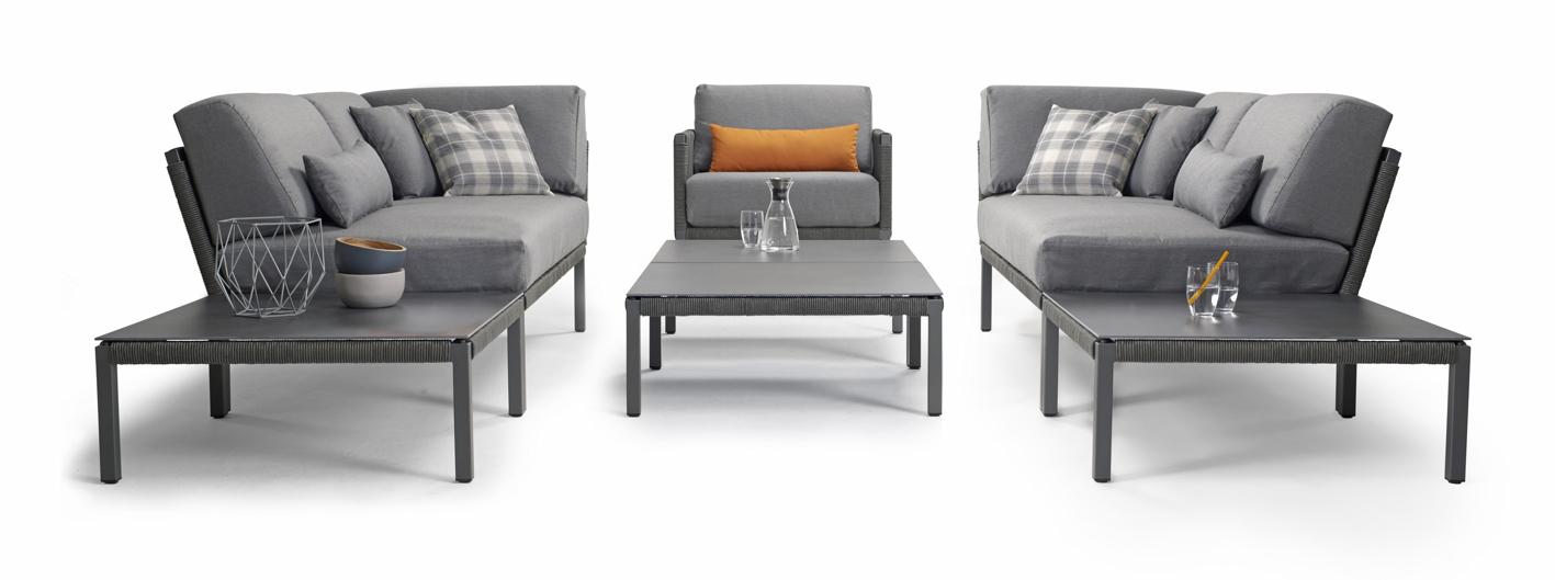 Sitzgruppe SOLPURI CLUB Gartenmöbel Set 2 anthrazit, Aluminium mit Kissen