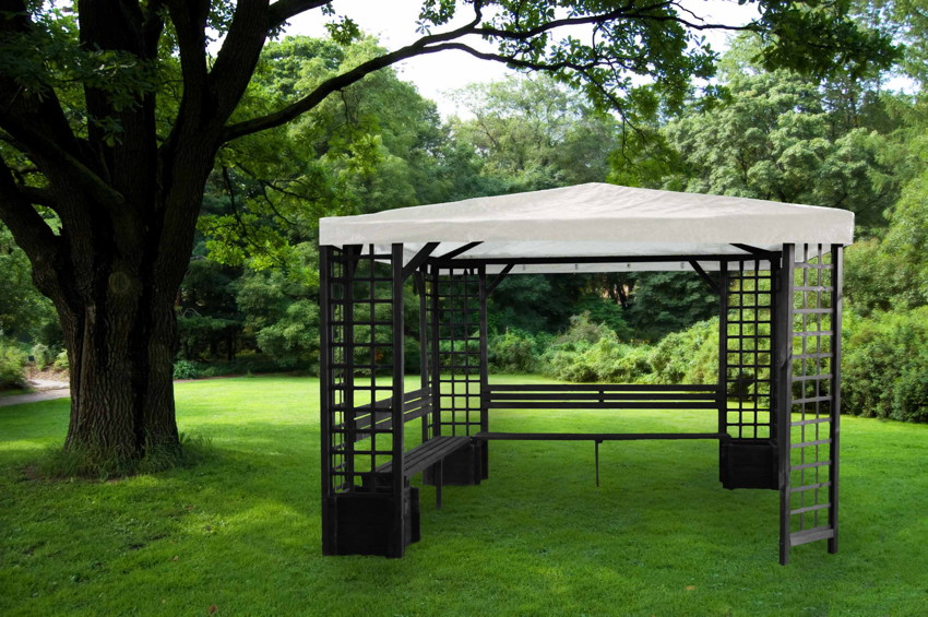 pavillon promadino mindelheim 4 eck holz pavillon pavillon garten laube aus holz pavillion. Black Bedroom Furniture Sets. Home Design Ideas