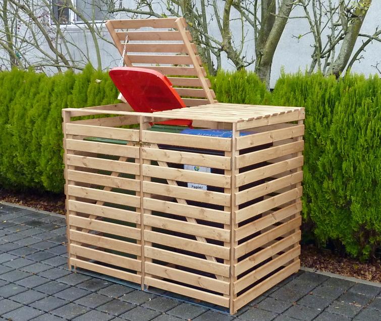 holz sichtschutz promadino vario v m lltonnenverkleidung f r 2 tonnen vom garten fachh ndler. Black Bedroom Furniture Sets. Home Design Ideas