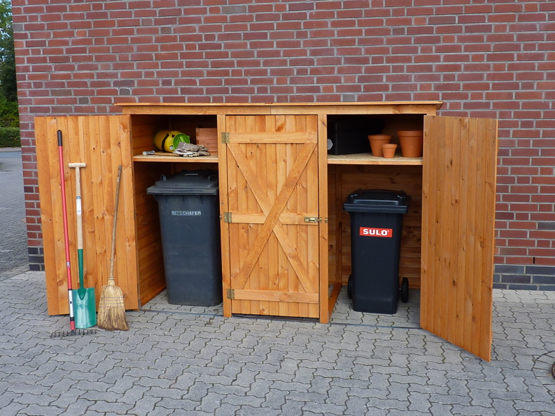 holz gartenschrank 3er m lltonnenschrank m lltonnenverkleidung 3 tonnen vom garten fachh ndler. Black Bedroom Furniture Sets. Home Design Ideas
