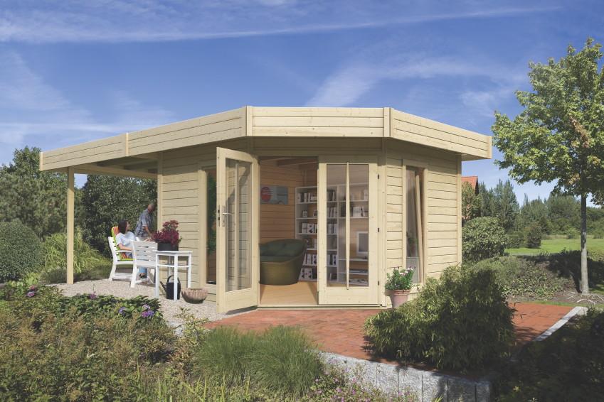 gartenhaus flachdach karibu corner cube poolhaus mit terrasse bausatz ebay. Black Bedroom Furniture Sets. Home Design Ideas