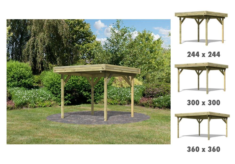 holz-pavillon mit modernen flachdach offen gartenpavillon,