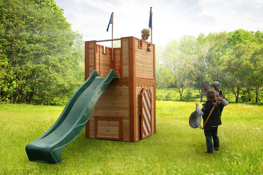 ritterburg axi arthur kinder spielturm holz spielturm mit rutsche kinderspielger te f r den. Black Bedroom Furniture Sets. Home Design Ideas