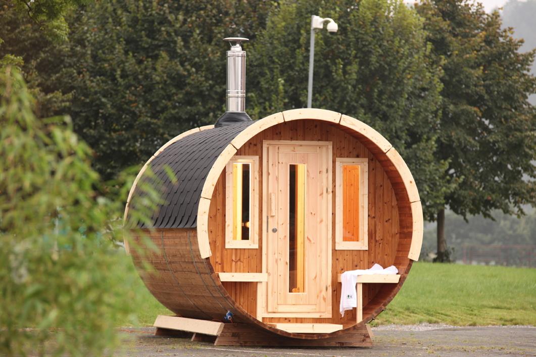 Gartensauna Wolff «Saunafass 330 de luxe» Sauna Haus, Fasssaun