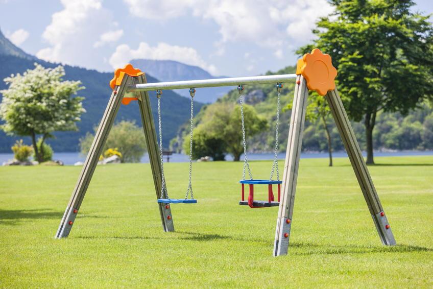 Spielplatz-Schaukel DIN EN 1176 Baby-Doppelschaukel Sultan Holzschaukel