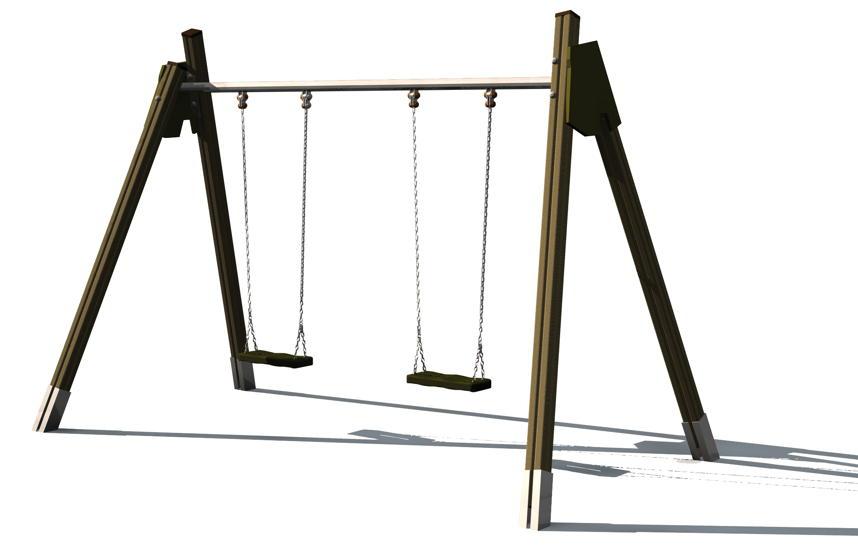 Spielplatz-Holz-Schaukelgerüst DIN EN 1176 KALUBA Doppelschaukel