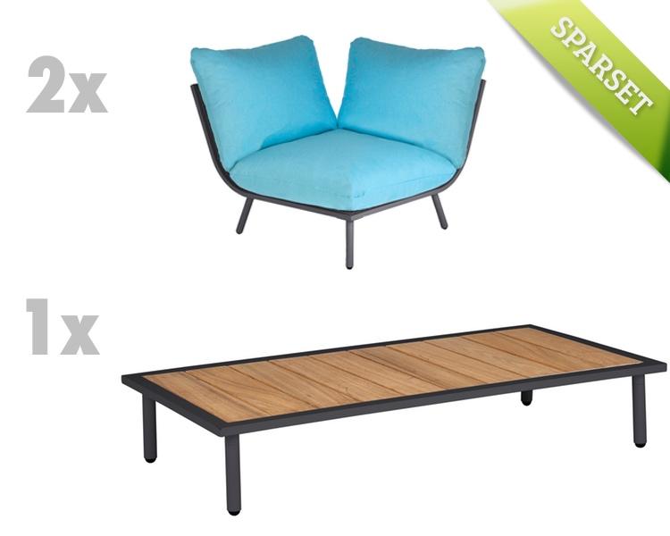 sitzgruppe alexander rose beach flint lounge kissen t rkis gartenm bel set 2 gartenm bel. Black Bedroom Furniture Sets. Home Design Ideas