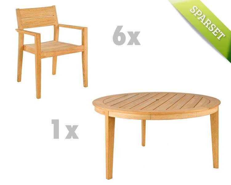 Sitzgruppe Alexander Rose Roble Gartenmöbel Set 5 Holzmöbel