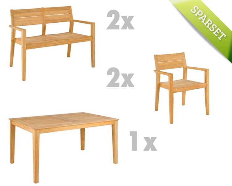 Sitzgruppe Alexander Rose Roble Gartenmöbel Set 8 Holzmöbel
