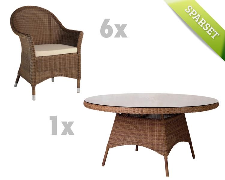Sitzgruppe Alexander Rose San Marino Gartenmöbel Set 3 Korbmöbel