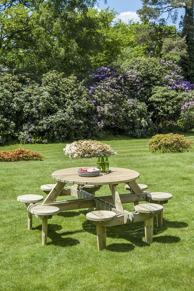 Sitzgruppe Alexander Rose PINIE GLENEAGLES Picknicktisch 8 Sitze Holzbank