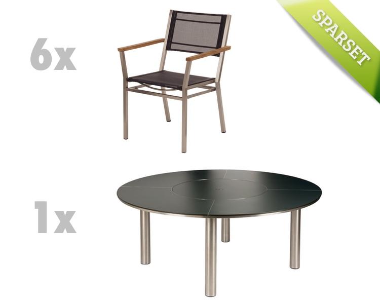Sitzgruppe Barlow Tyrie Equinox Dining Set 4 charcoal Gartenmöbel Set