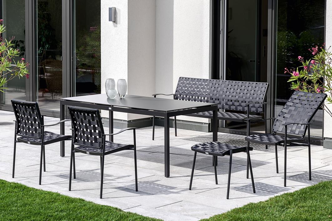 gartenstuhl fischer nizza hochlehner anthrazit aluminiumstuhl gartenm bel fachhandel. Black Bedroom Furniture Sets. Home Design Ideas