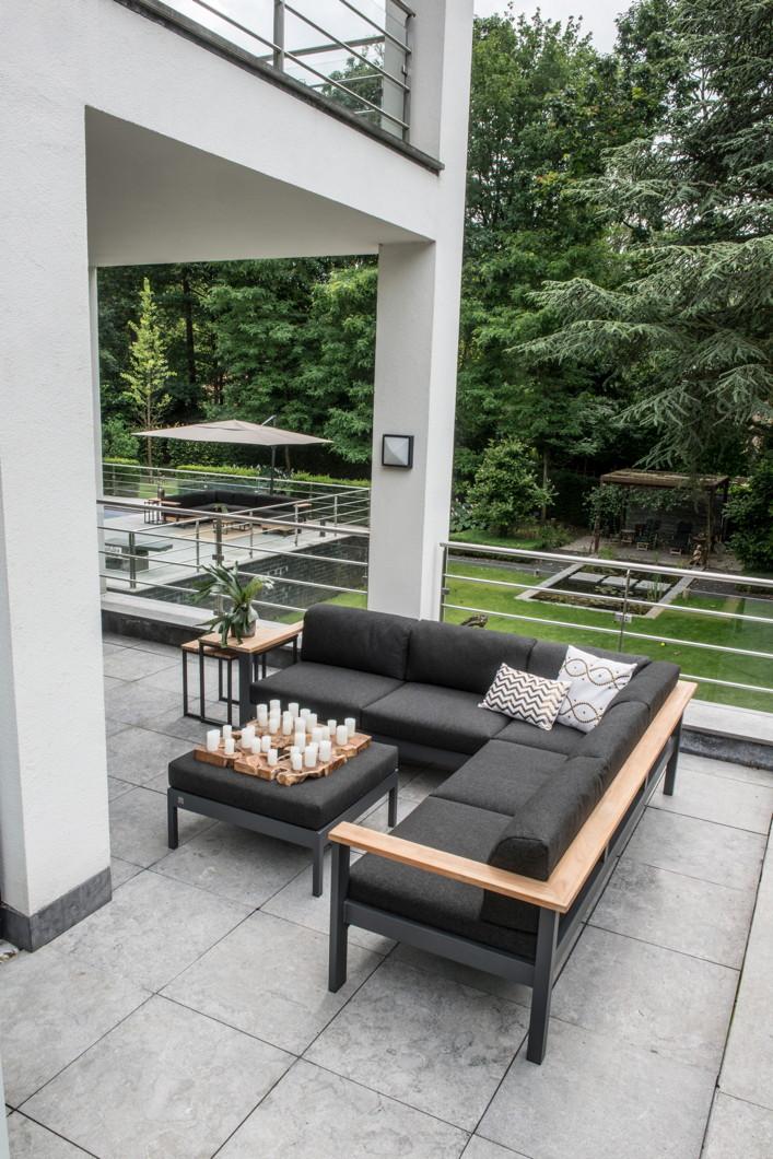 gartenstuhl 4seasons orion mittelelement loungemodul teak mit kissen gartenm bel fachhandel. Black Bedroom Furniture Sets. Home Design Ideas