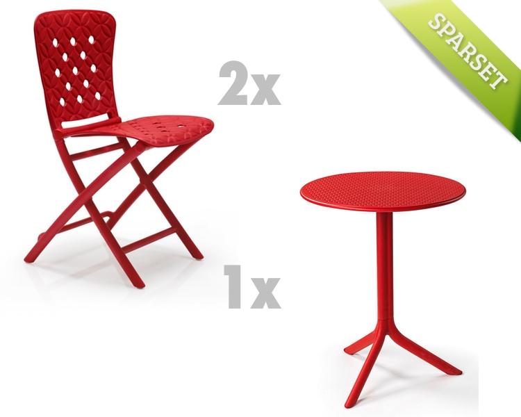 Gartenmöbel Set NARDI Spring-Step rot Set 3 Sitzgruppe Balkonmöbel