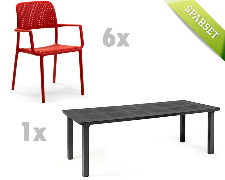 Sitzgruppe im garten gartenmobel sets  Gartenmöbel Set NARDI «Bora Levante rot/anthrazit Set 5» Sitzgruppe ...